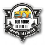 Koolart OLD FORDS NEVER DIE Motif For Retro Old Skool Ford Anglia 105e External Vinyl Car Sticker Decal Badge 100x100mm